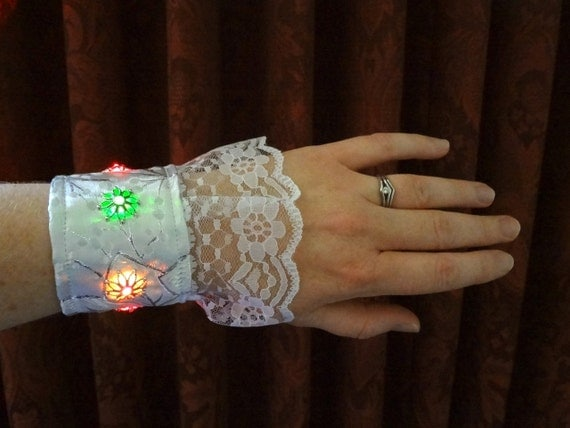 Pair of White Wrist Cuffs with Color Changing Lights, Battery Powered