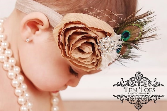 Vintage Inspired Tan Beige & Cream Fabric Rose Rosette Flower Headband with 2 Peacock Feathers on elastic or clip Crystal and veil detailing