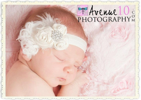 Petite Newborn Vintage Wedding  White or Cream Dupioni Silk Hand Rolled Rosette Headband with Ostrich feathers, VEILING, crystal