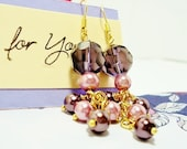 Free Shipping: Lilac Spring Crystal and Pearl Dangle Earrings