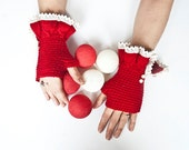 red and white fingerless gloves arm warmers mittens-mother's Day gift