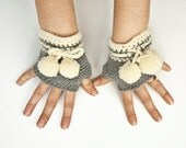 Gray fingerless gloves arm warmers mittens with pompoms