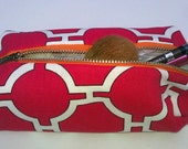 Maroon and White Patterned Makeup/Jewelry Pouch with Bright Yellow Lining