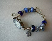 Rhinestone Oval Shape Watch Bracelet With Blue and Silver Beads