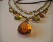 Vintage Amber Victorian Leather Lariat Plastic Bead Necklace
