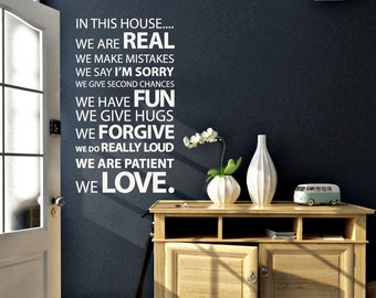 In this House Quote family Wall Decal | 60 x 100cm / 24 x 39 inches