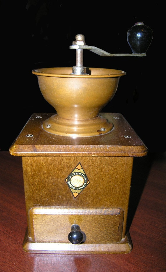 Hand Forged Coffee Grinder Mill West Germany Copper Bowl Good Condition Clean Drawer
