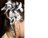 SALE: Black, Grey, and White Yarn and Feathers 28 inch Tribal Belly Dance Pigtail Ponytail hairfalls