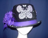 HAT REDUCED Purple and Black Butterfly Fancy Belly dance Performance Steampunk Victorian Stage Top Hat CUSTOM