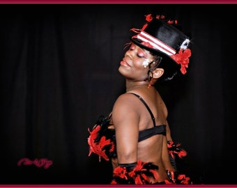 HAT-Red and Black Bling Decor Belly Dance Burlesque Stage Performance Recital New age Top Hat