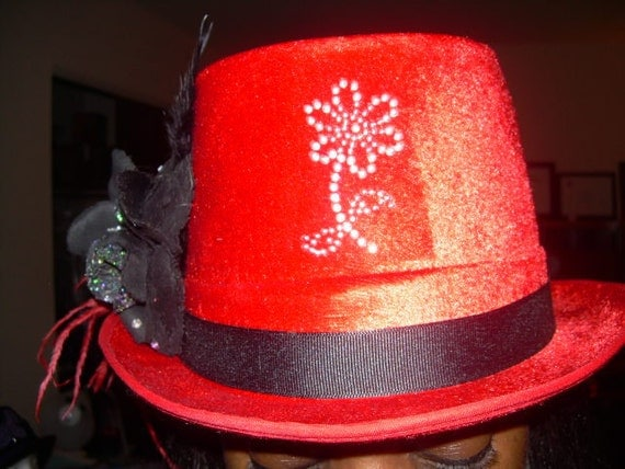 Red Flower Fun Time Party Dance Performance Stage Top Hat