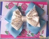 Baby Blue & Gold Embossed Satin Boutique Infant Bow Headband Newborn to 3 months
