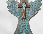 Santa Fe style Cross, faux fininsh with engraved fleur de lis's