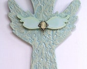 Faux finish Cross with engraved Fleur De Lis's and Elegant Cameo