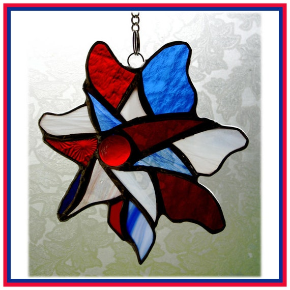 Pinwheel Suncatcher Jubilee Stained Glass British colours