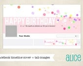 Facebook Timeline Cover plus 3 Tab Images - Happy Birthday -