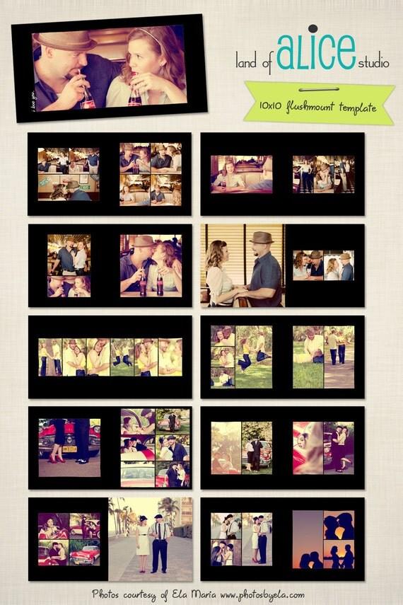 10x10 Photo Album Template - hand drawn frames - WHCC Flushmount - dash, dash, dash -