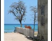 Island Beach Scene, Bicycle Against White Picket Fence, Fine Art Photograph, Blue Ocean Water Sky Caribbean Sea Gray Travel Decor