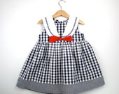 Vintage Sailor Dress Size 4T in Red White and Blue Seersucker