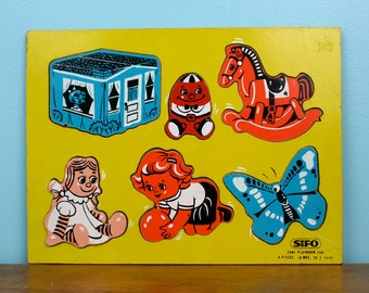 Vintage Wooden Puzzle 1960s 18 mos to 5yrs by SIFO