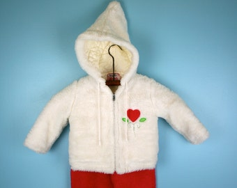Vintage Snow Suit in White and Pink Faux Fur Size 2T 1960s