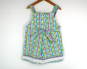 Vintage Overall Shorts in Purple and Turquoise and Green Girls Size 5