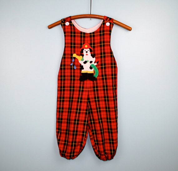 Vintage Plaid Overalls Red Black and Yellow with Dalmatian Fire Chief 3T