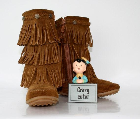 Vintage Minnetonka Moccasin Fringed Boots Size 1