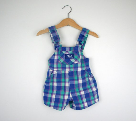 Vintage Oshkosh Plaid Overall Shorts in Mint Purple and Blue Size 12 months