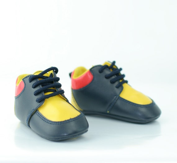 Vintage Baby Ankle Shoes In Red Yellow and Black
