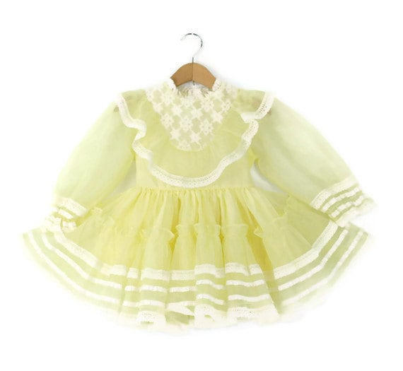 Vintage Toddler Dress in Lemon Chiffon and Lace 4T