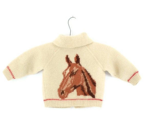 Vintage Hand Knit Wool Sweater with Horse and Horse Shoe 2T