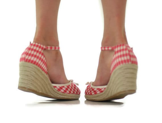 Wedge Sandals in Red and White Gingham Girls Size 1