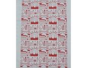 Hand-Made London Skyline Printed Tea Towel