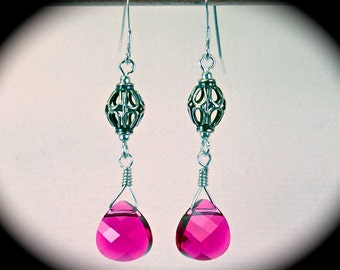 Sterling Bali bead earrings with Swarovski hot pink flat briolettes.