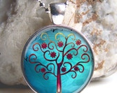 Turquoise Tree Pendant - Whimsical Tree Art Pendant