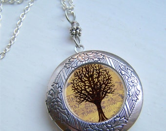 Locket Necklace, Tree Of Life Necklace, Silver Photo Locket, Tree Locket