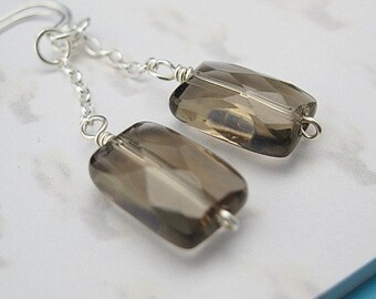 Sterling Silver Earrings - Square Smoky Quartz  - Everyday Jewelry - Wedding Bridal Jewelry