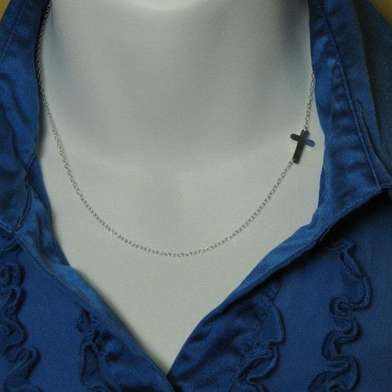 Sideways Cross Necklace - Set Off Center - 925 Sterling Silver Necklace - Everyday Necklace -Celebrity Inspired