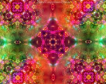 Prana Multi 5 Digital Art Print, Psychedelic Art, Energy Art, Wall Art, Abstract Art, 60's Art