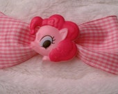 My Little Pony Bow Pinky Pie Hair Bow Pink Gingham