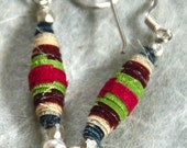 Korean Silk Hanbok Earrings: Fabric Bead Jewelry