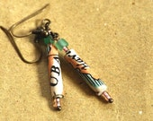 Vintage Nautical Map Earrings: Cuba (Rolled Paper Jewelry)