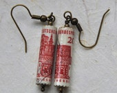 Upcycled Postage Stamp Jewelry: Bundespost Deutschland (West Germany) Paper Bead Earrings