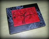 Desktop/Hanging Art Block - Whimsical Tree-Red (custom background color can be made)