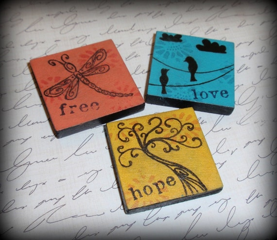 """Set of 3 Magnets - """"Whimsical Tree, Dragonfly, & Birds on a Wire"""" (custom colors can be made)"""