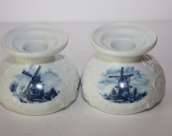 Delft Blue Candle Holders Hand Decorated