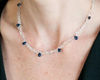Sapphire & Crystal Quartz Necklace