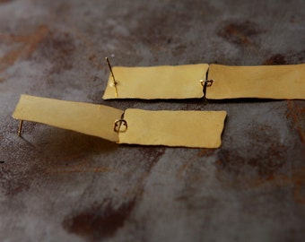 Chadelier earrings - Long gold square earrings - Dangle Eearrings - Christmas gift for her - Handmade jewelry by Gioieellibyliat