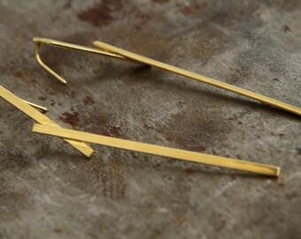 ON SALE, Free shipping, Gold jewelry, statemnt earrings, long earrings, bridal jewelry, trendy gift, geometric earrings